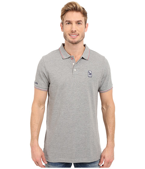 Imbracaminte Barbati US Polo Assn Solid Pique Polo Shirt w Color Tipped Collar amp Cuffs Heather Grey
