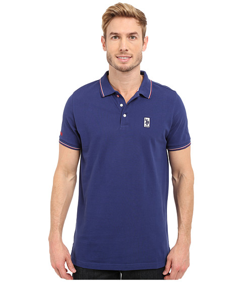 Imbracaminte Barbati US Polo Assn Solid Pique Polo Shirt w Color Tipped Collar amp Cuffs Marina Blue