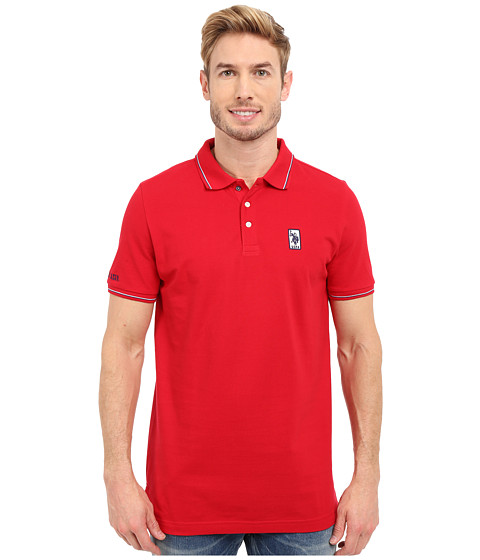 Imbracaminte Barbati US Polo Assn Solid Pique Polo Shirt w Color Tipped Collar amp Cuffs Winning Red