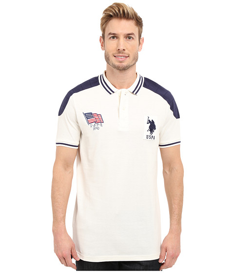Imbracaminte Barbati US Polo Assn Embellished Sporty Pique Polo Shirt White Winter