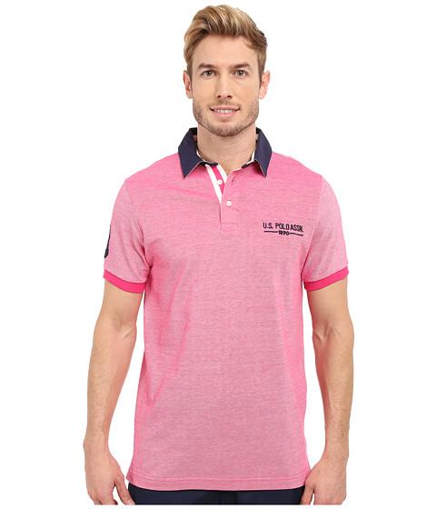 Imbracaminte Barbati US Polo Assn Solid Pique Polo Shirt w Contrast Collar Caribbean Pink