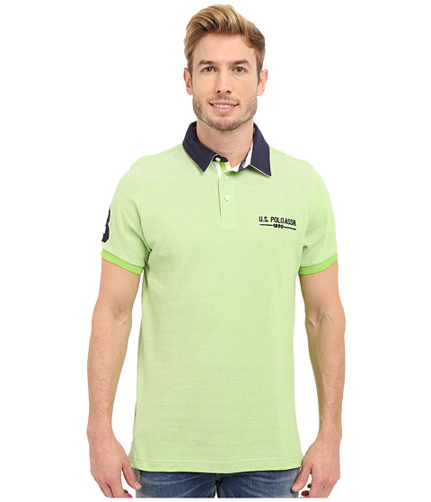 Imbracaminte Barbati US Polo Assn Solid Pique Polo Shirt w Contrast Collar Summer Lime