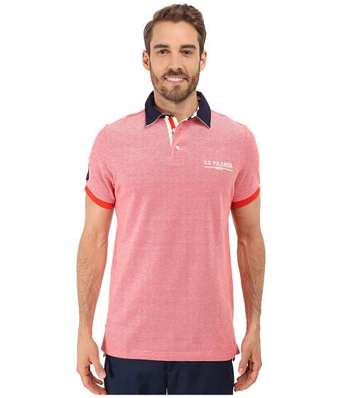 Imbracaminte Barbati US Polo Assn Solid Pique Polo Shirt w Contrast Collar Crimson Fire