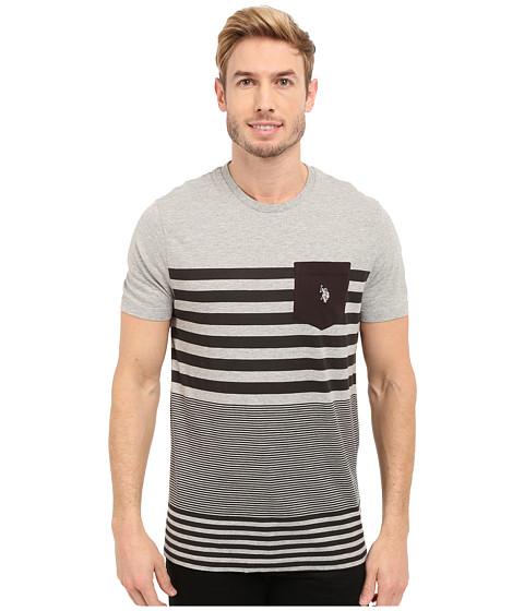 Imbracaminte Barbati US Polo Assn Engineered Stripe Crew Neck Pocket T-Shirt Heather Grey