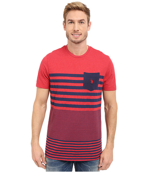 Imbracaminte Barbati US Polo Assn Engineered Stripe Crew Neck Pocket T-Shirt Red Heather