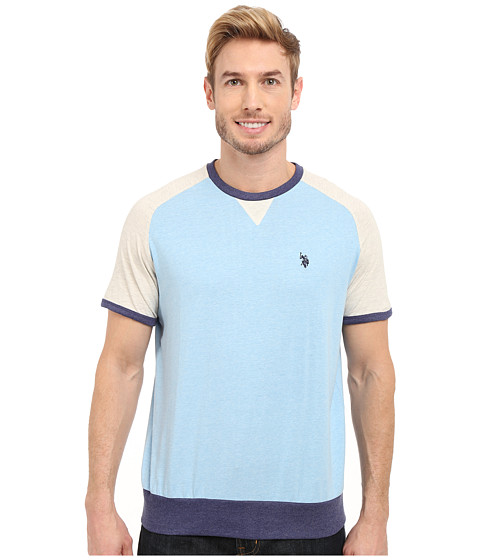 Imbracaminte Barbati US Polo Assn Baseball Crew T-Shirt Yale Blue Heather