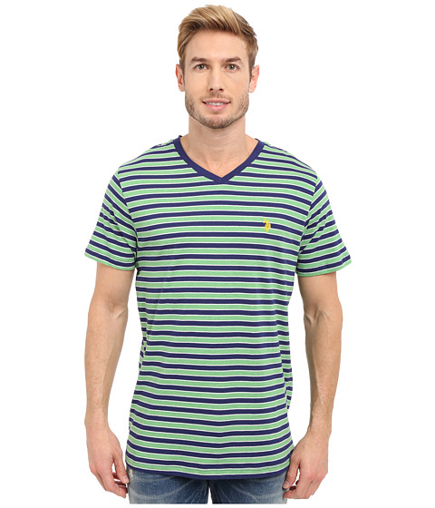 Imbracaminte Barbati US Polo Assn Candy Striped V-Neck T-Shirt Grass Heather