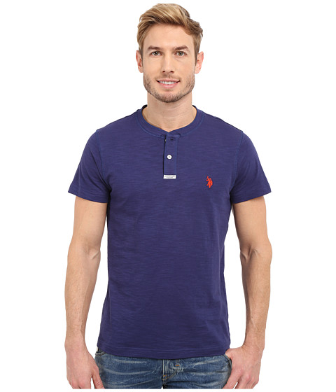 Imbracaminte Barbati US Polo Assn Slim Fit Slub Space Dyed Henley T-Shirt Dodger Blue