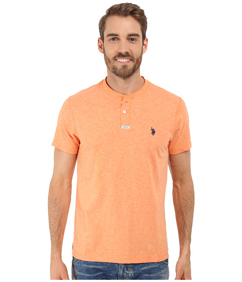 Imbracaminte Barbati US Polo Assn Slim Fit Slub Space Dyed Henley T-Shirt Sunrise Heather
