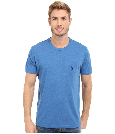 Imbracaminte Barbati US Polo Assn Crew Neck Pocket T-Shirt Blue Tile Heather
