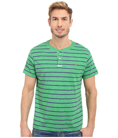 Imbracaminte Barbati US Polo Assn Slim Fit Stripe Slub Henley T-Shirt Grass Heather
