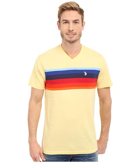 Imbracaminte Barbati US Polo Assn Chest Stripe V-Neck T-Shirt Lemon Frost