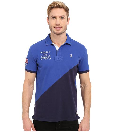 Imbracaminte Barbati US Polo Assn Slim Fit Diagonal Color Block Pique Polo Shirt Blue Tie