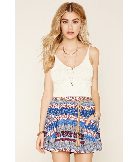 Imbracaminte Femei Forever21 Mixed Print Belted Skirt Navymulti
