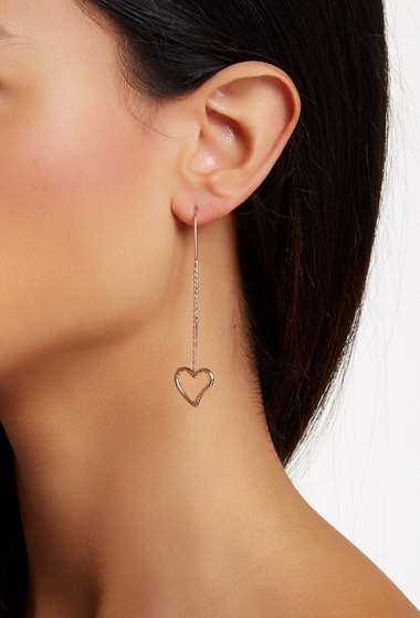 Bijuterii Femei Savvy Cie 14K Rose Gold Vermeil Italian Hearts Threader Earrings pink