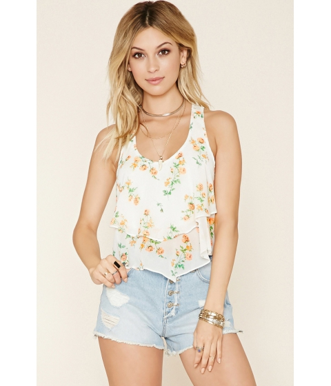 Imbracaminte Femei Forever21 Sheer Layered Floral Top Ivorymulti