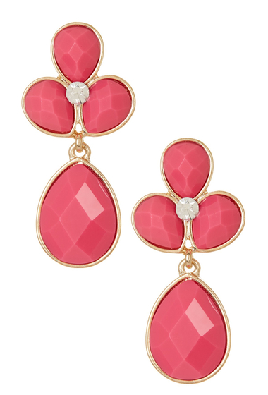 Bijuterii Femei Natasha Accessories Crystal Faceted Teardrop Dangle Earrings PINK