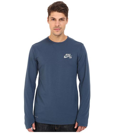 Imbracaminte Barbati Nike SB Skyline Dri-FITtrade Cool Long Sleeve Crew Squadron BlueReflective Silver
