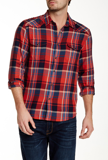 Imbracaminte Barbati Lucky Brand Wolf Creek Plaid Long Sleeve California Fit Shirt RED PLAID
