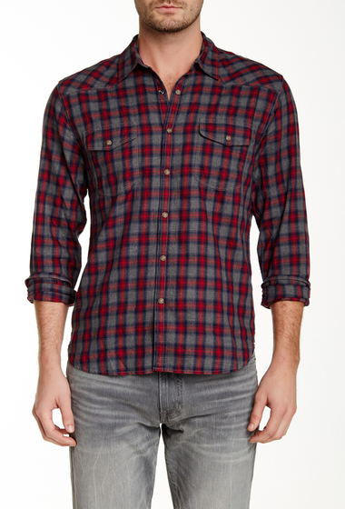 Imbracaminte Barbati Lucky Brand Underwood Plaid Long Sleeve Classic Fit Shirt RED-GREY