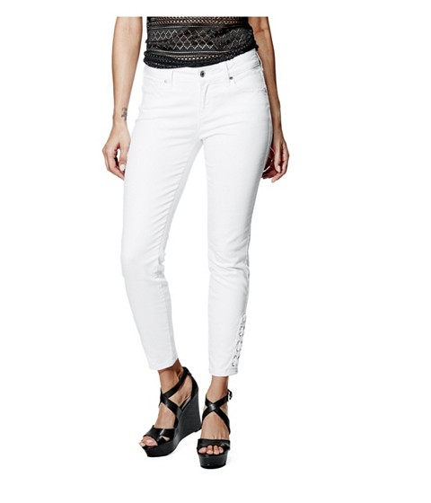 Imbracaminte Femei GUESS Fianna Lace-Up Ankle Jeans in True White Wash true white