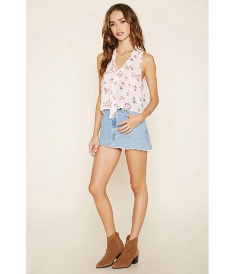 Imbracaminte Femei Forever21 Floral Print Tie-Neck Top Blushpurple