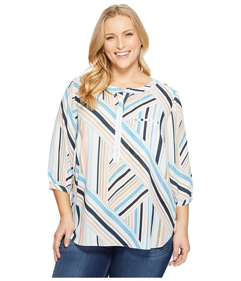 Imbracaminte Femei NYDJ Plus Size Solid 34 Sleeve Pleat Back Beachfront Stripe Corsica Blue