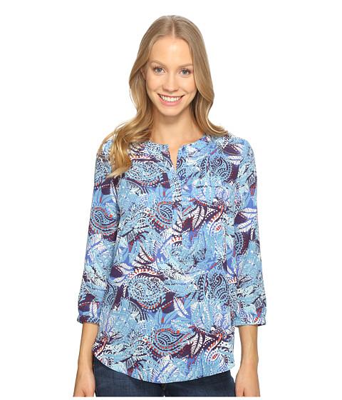 Imbracaminte Femei NYDJ 34 Sleeve Pleat Back Maldives Garden Corsica Blue