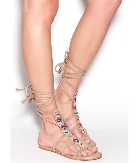 Incaltaminte Femei CheapChic Check For Chevron Beaded Sandals Beige