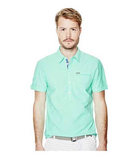Imbracaminte Barbati GUESS Felipe Short-Sleeve Chambray Shirt green pop