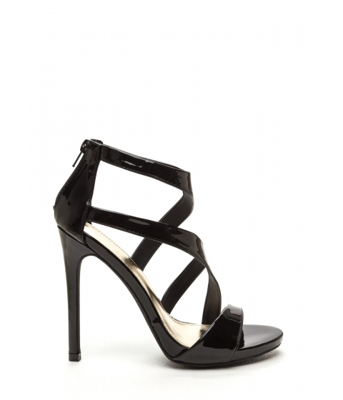 Incaltaminte Femei CheapChic Swooping In Strappy Faux Patent Heels Black