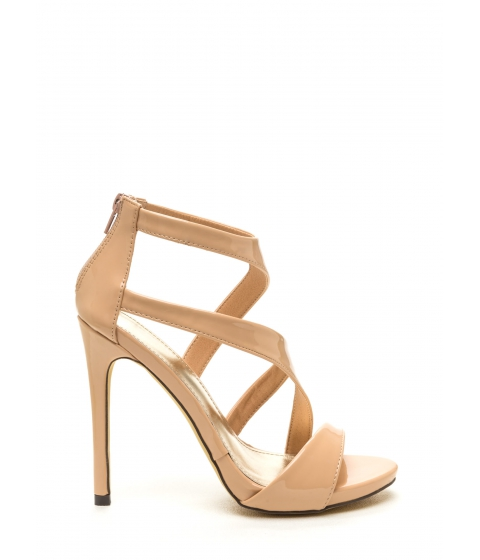 Incaltaminte Femei CheapChic Swooping In Strappy Faux Patent Heels Nude