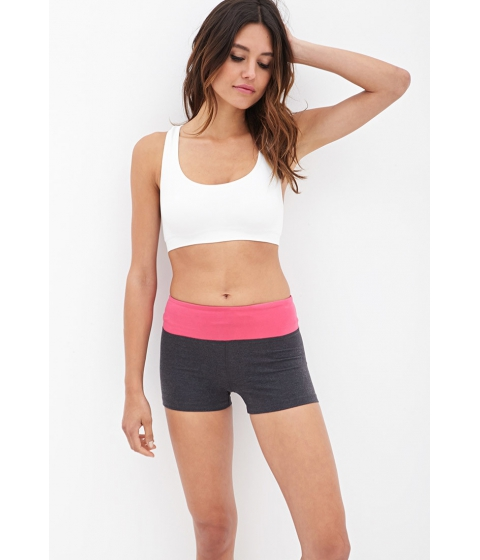 Imbracaminte Femei Forever21 Active Colorblocked Yoga Shorts Charcoalberry
