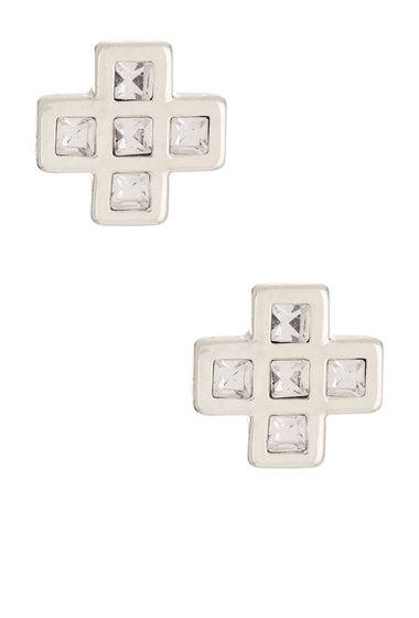 Bijuterii Femei Marc by Marc Jacobs Crystal Cross Clover Mismatched Stud Earrings CRYSTAL-ARGENTO