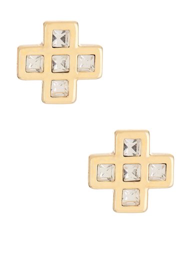 Bijuterii Femei Marc by Marc Jacobs Crystal Cross Clover Mismatched Stud Earrings CRYSTAL-ORO