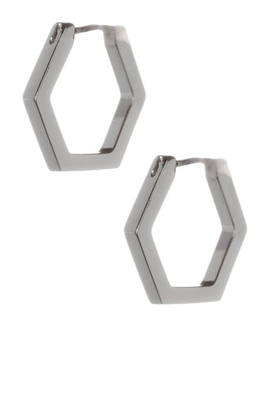 Bijuterii Femei Marc by Marc Jacobs Hexagon Huggie Hoop Earrings ARGENTO