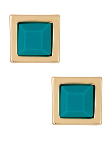 Bijuterii Femei Marc by Marc Jacobs Rubber Square Stud Earrings WINTERGREEN