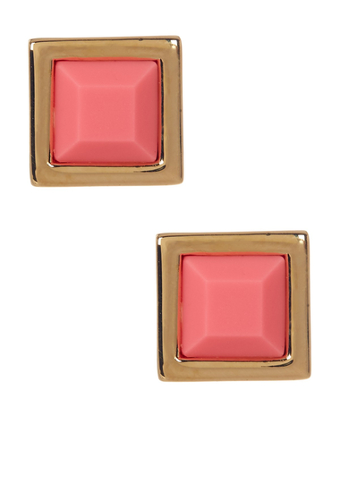 Bijuterii Femei Marc by Marc Jacobs Rubber Square Stud Earrings BRIGHT ROSE