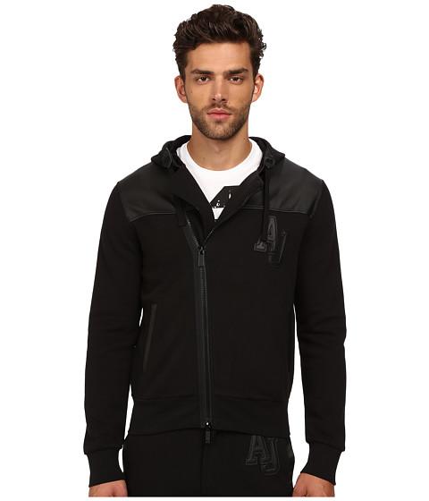 Imbracaminte Barbati Armani Jeans PolyCotton Fleece Perforated Eco Leather Zip Track Top Black