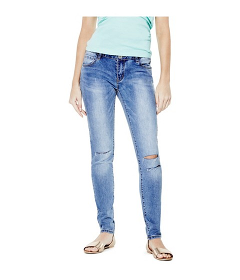 Imbracaminte Femei GUESS Kirah Knee-Cut Skinny Jeans medium destroyed
