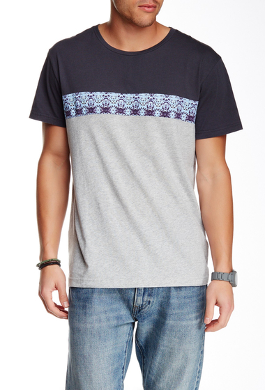 Imbracaminte Barbati O'Neill Crew Neck Paneled Tee Charcoal-Grey w-printed stripe