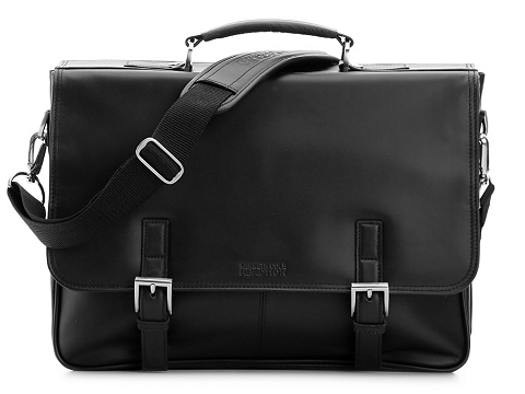 Accesorii Barbati Kenneth Cole Kenneth Cole Fold Over Leather Messenger Bag Black