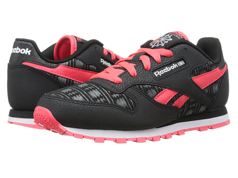 Incaltaminte Fete Reebok Classic Leather Tribal Twist (Big Kid) BlackNeon CherryMedium GreyFlat GreyWhite