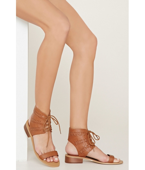 Incaltaminte Femei Forever21 Faux Leather Lace-Up Sandals Chestnut