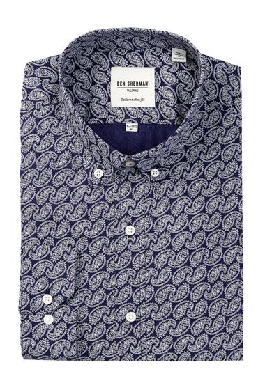 Imbracaminte Barbati Ben Sherman Kings Long Sleeve Slim Fit Paisley Dress Shirt NAVY