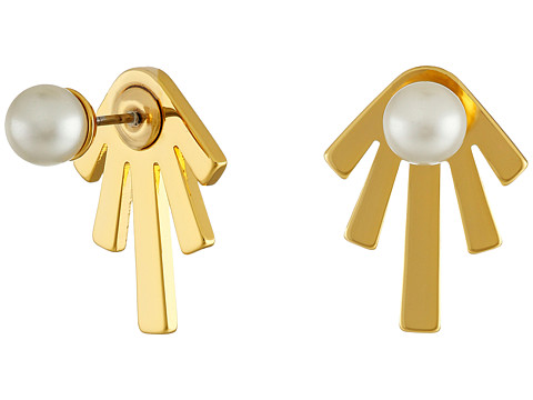 Bijuterii Femei Rebecca Minkoff PearlBar Front to Back Earrings Gold TonedPearl