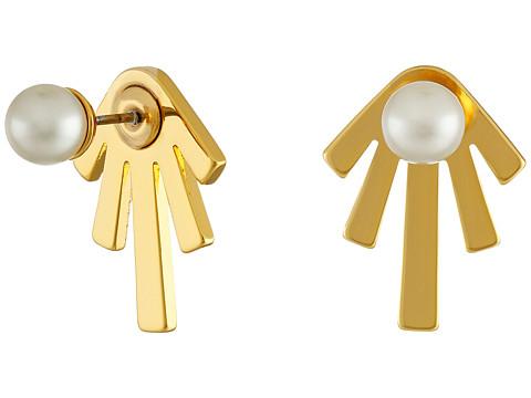 Bijuterii Femei Rebecca Minkoff PearlBar Front to Back Earrings Gold TonedPearl