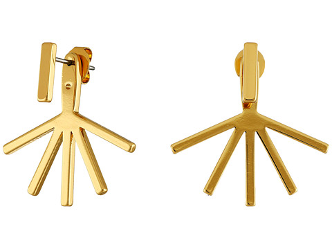 Bijuterii Femei Rebecca Minkoff Bar Front to Back Earrings Gold Toned
