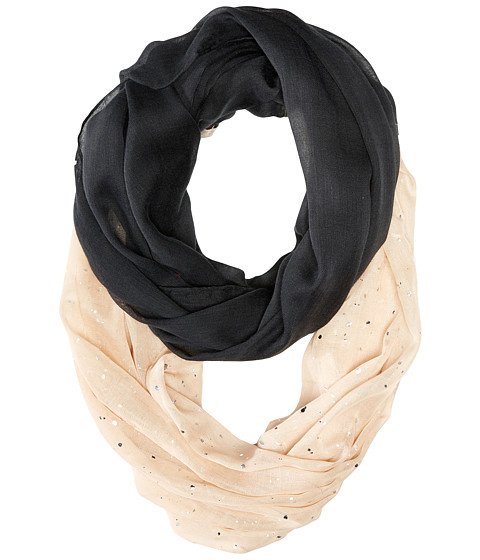 Accesorii Femei Betsey Johnson Color Block Foil Crinkle Loop Scarf Black