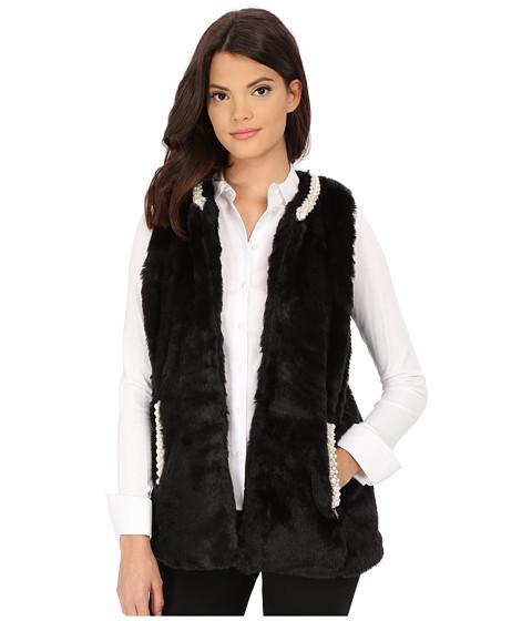 Imbracaminte Femei Betsey Johnson Pearl Trim Cozy Mink Long Vest Black